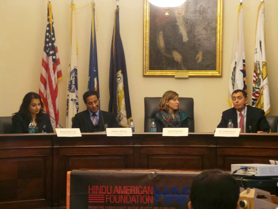 Picture 1: Panelists on Congressional Briefing at Capitol Hill (From left Suhag Sukla, Madhap Sharma, Doria Barmente and Dr Chhabilall Sharma