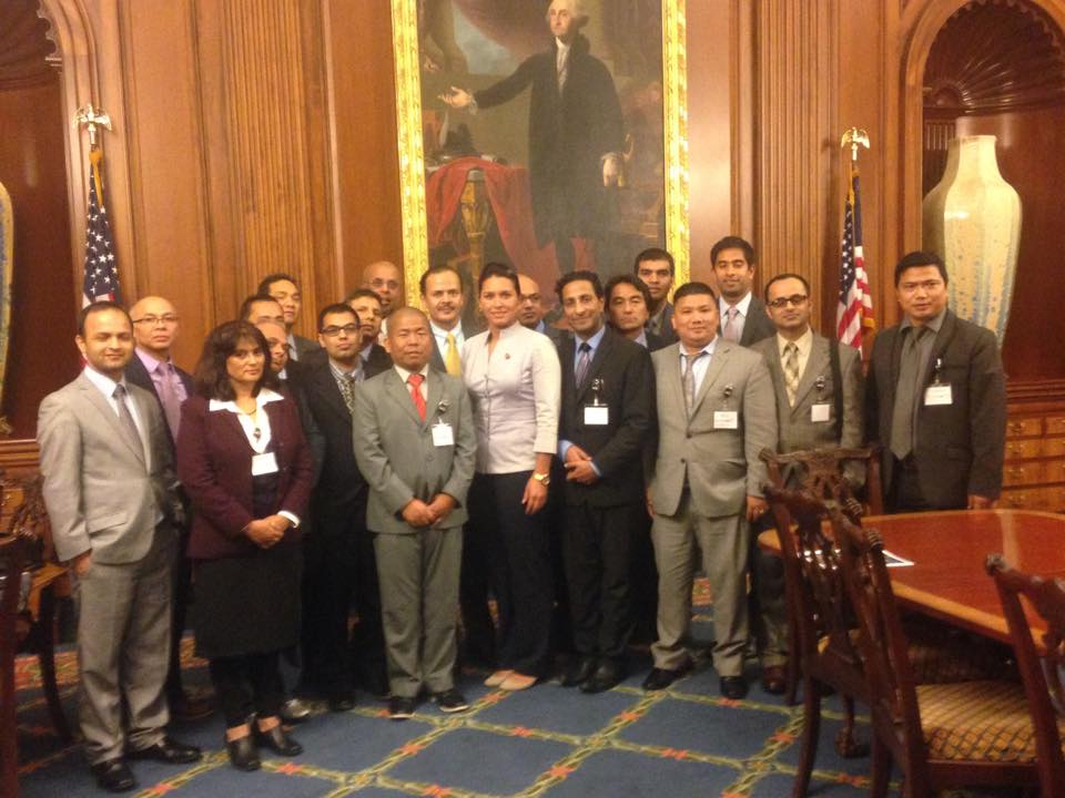 Delegates with Congresswoman Tulsi Gabbard, the first Hindu Lawmaker in the United States elected from the State of Hawaii