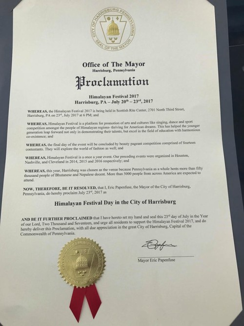 Proclamation from the Office of Mayor of the state of Pennsylvania